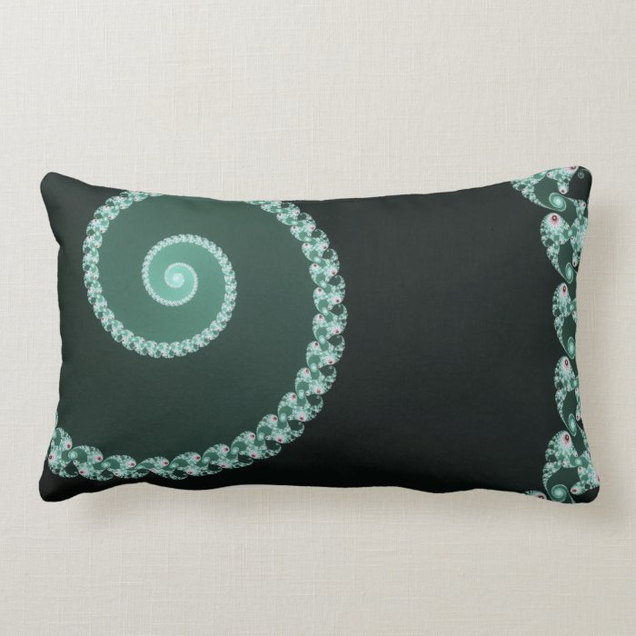 Green and Gray Fractal Spiral Lumbar Pillow