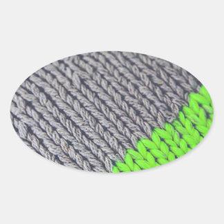 Green and Gray Geometric Sweater Oval Sticker