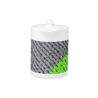 Green and Gray Geometric Sweater Teapot
