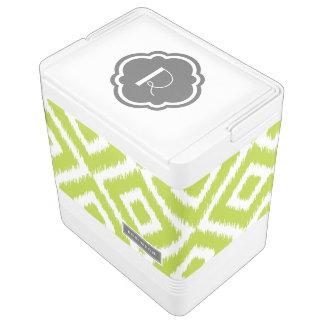 Green and Gray Ikat Diamonds Monogram Cooler