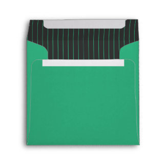 Green and Gray Pinstripes Envelopes
