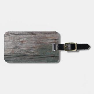 Green and Gray Wood Grain Luggage Tag