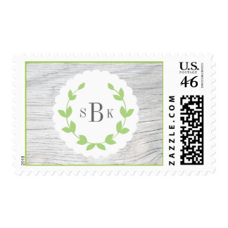 Green and Gray Wreath Rustic Monogram Postage