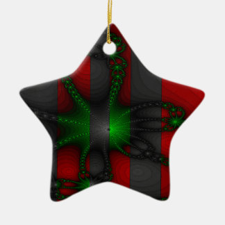 Green and Grey Chains Vibrant Ceramic Ornament