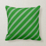 [ Thumbnail: Green and Grey Colored Lines/Stripes Pattern Throw Pillow ]