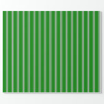 [ Thumbnail: Green and Grey Colored Lines/Stripes Pattern Wrapping Paper ]