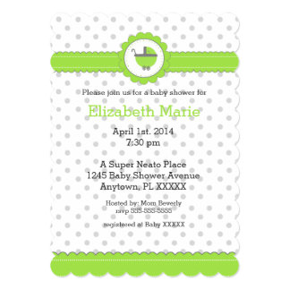 Green and Grey Polka Dots- Baby Shower Card