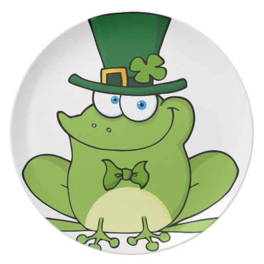 Green and Happy Leprechaun Frog Melamine Plate
