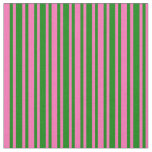 [ Thumbnail: Green and Hot Pink Colored Lined Pattern Fabric ]