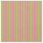 [ Thumbnail: Green and Hot Pink Colored Stripes Fabric ]