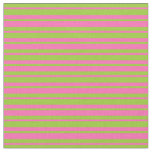 [ Thumbnail: Green and Hot Pink Lines Fabric ]