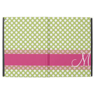 Green and Hot Pink Polka Dot Pattern Monogram iPad Pro Case