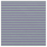 [ Thumbnail: Green and Indigo Colored Lines/Stripes Pattern Fabric ]