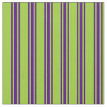[ Thumbnail: Green and Indigo Colored Stripes/Lines Pattern Fabric ]