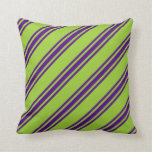 [ Thumbnail: Green and Indigo Colored Stripes/Lines Pattern Throw Pillow ]