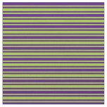 [ Thumbnail: Green and Indigo Stripes Fabric ]