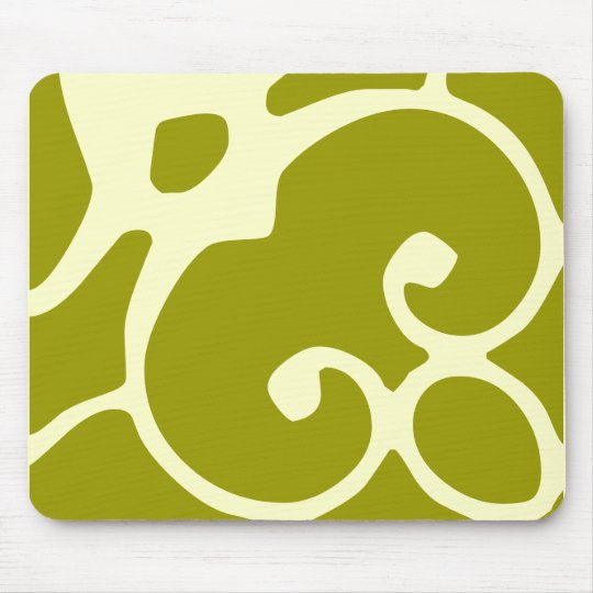 green and ivory design mousepad