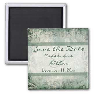 Green and Ivory Floral Save the Date Magnet