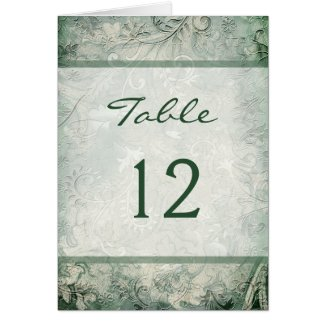Green and Ivory Floral Table Number Card card