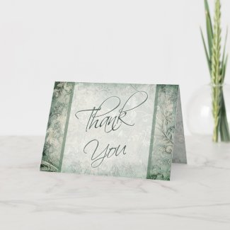 Green and Ivory Floral Thank You Card card