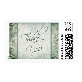 Green and Ivory Floral Thank You Postage stamp