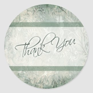 Green and Ivory Floral Thank You Sticker sticker