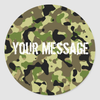 Green and Khaki Camoflage Sticker