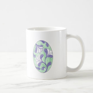 Green and Lavendar Swooping Loop Flower Cameo Coffee Mug