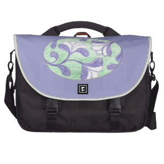 Green and Lavendar Swooping Loop Flower Cameo Laptop Bag