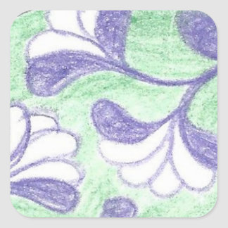 Green and Lavendar Swooping Loop Flower Cameo Square Sticker