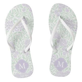 Green and Lavender Floral Damask Monogrammed Flip Flops