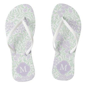 heartlocked Green and Lavender Floral Damask Monogrammed Flip Flops