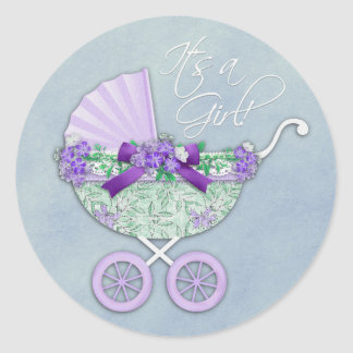 Green and Lavender Purple Baby Carriage Classic Round Sticker