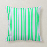 [ Thumbnail: Green and Lavender Stripes Pattern Throw Pillow ]