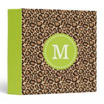 Green and Leopard Print Custom Monogram 3 Ring Binder