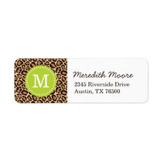 Green and Leopard Print Custom Monogram Label
