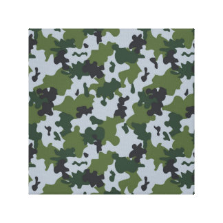Green and Light Blue Camouflage Canvas Print