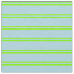[ Thumbnail: Green and Light Blue Colored Stripes Fabric ]