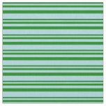 [ Thumbnail: Green and Light Blue Lined Pattern Fabric ]
