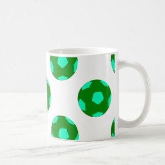 Green and Light Blue Soccer Ball Pattern Coffee Mug