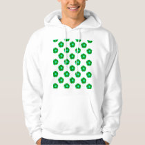Green and Light Blue Soccer Ball Pattern Hoodie