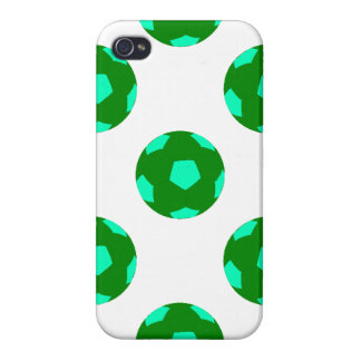 Green and Light Blue Soccer Ball Pattern Cases For iPhone 4