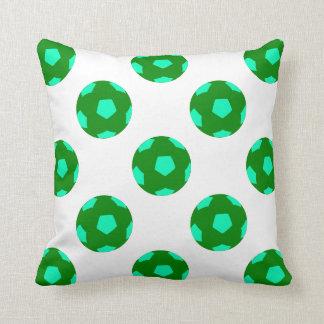 Green and Light Blue Soccer Ball Pattern Pillows