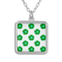 Green and Light Blue Soccer Ball Pattern Silver Plated Necklace