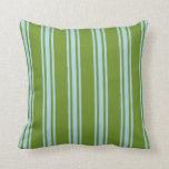 [ Thumbnail: Green and Light Blue Stripes Throw Pillow ]