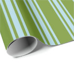 [ Thumbnail: Green and Light Blue Stripes Wrapping Paper ]