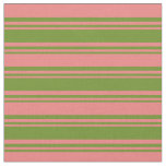 [ Thumbnail: Green and Light Coral Colored Lines Fabric ]