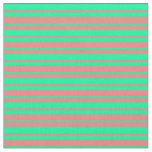 [ Thumbnail: Green and Light Coral Colored Lines Pattern Fabric ]