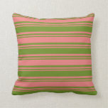 [ Thumbnail: Green and Light Coral Colored Lines Throw Pillow ]