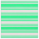 [ Thumbnail: Green and Light Cyan Lines/Stripes Pattern Fabric ]